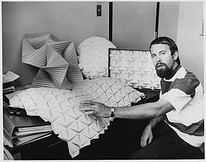 Ron Resch in Univ. of Utah office with foldings.  (1970)